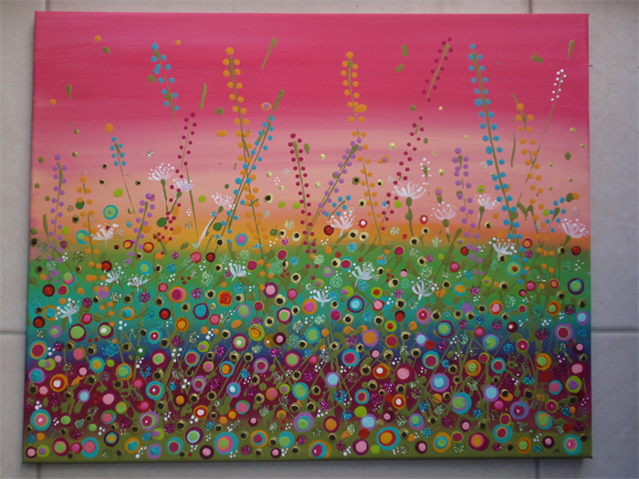 Flower Meadow Canvas Painting 16 X 20 Inch Acrylics And