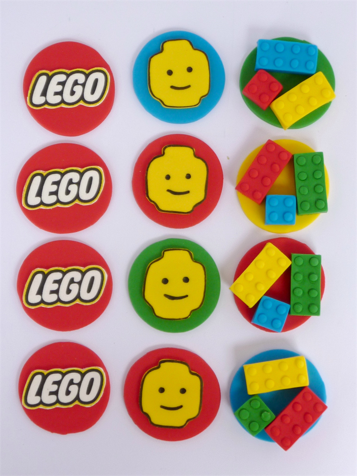 12 X Edible Lego Cupcake Toppers Sweet Party Treats
