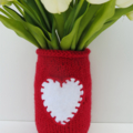 Hand Knitted Jar Cover/Cozy/Vase in Red with White Appliqued Heart