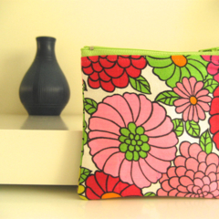 Coin purse, orange, green pink, yellow psychedelic floral print, lining denim