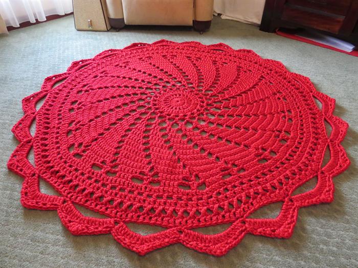 Giant 1.5m Crochet Doily Rug - Handmade Circular Doily Style Floor ...