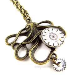 CLOSING DOWN SALE Steampunk Octopus Vintage Clockwork Bronze Pendant Necklace