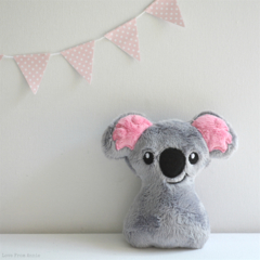 Free Postage Baby Koala Rattle Grey and Pink