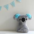 Free Shipping Baby Koala Rattle Grey and Blue