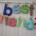 Fabric letters - 10-12 letters custom name / word banner with pegs,string in bag