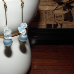 Blue Escape. SALE Opalite crystal CatsEye stone blue antique bronze Earrings