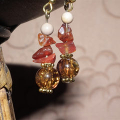Hearts Fire SALE Carnelian Mookatite Sparkly crystal stone glass gold earrings