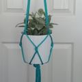 "Turquoise ""Bells"" Beaded Macramé Pot/Plant Hanger"