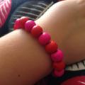 Pink & Red Wooden Bead Bracelet