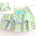 Size18 months or 3 / Circle stripe Skort - Blue x Lime green