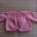 Size 3-9 months: Baby girl hand knitted cardigan/jacket in pink: Washable,