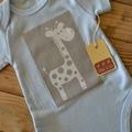 Baby Boys Blue Giraffe Onesie Size 0000, 000, 00, 0 & 1