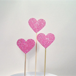 Glitter Love Heart Cake Pokes/Cake Toppers. Set of Three. Pink/Wedding/Engag
