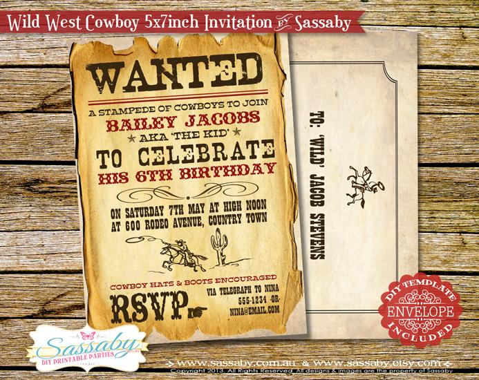 Wild West Cowboy Invitation By Sassaby