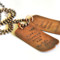 Dog Tags Necklace, Blended Family, Personalised Mens Gift, Hand Stamped Copper