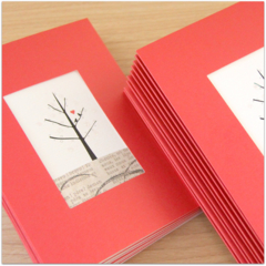 8 Blank Cards, Birds and Tree, Christmas Blank Birthday Thinking of You