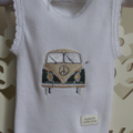 Free Post; White Cotton Singlet, Size 0000, with Embroidered Green VW Kombi Van