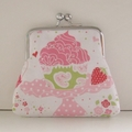 Cup Cake Coin Purse - Strawberry Tea Party