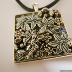"""Pendant, """"Secret Fairy"""", Square, silver plated,  glass millifiori,"""