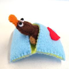 Platypus in bed - Felt Miniature Australian Animal
