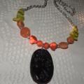Calypso Mermaid Goddess..SALE Carved Jade Carnelian Sardonyx Onyx Coral Necklace