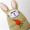 Finger puppet Rabbit - Embroidered Felt Bunny  - Easter