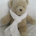 Teddy Bear Clothes, Handknitted White Scarf