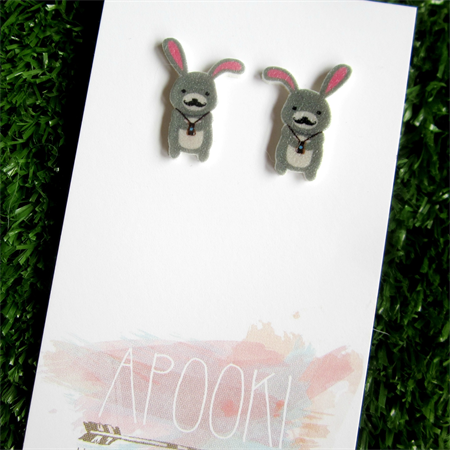 Buy 3 get 4th FREE - Hipster Woodland Rabbit Earrings