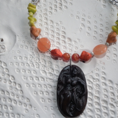 Calypso Mermaid Goddess..SALE Carved Jade Carnelian Sardonyx Onyx Coral Necklace
