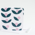 Fabric Greeting Card - pink and grey flowers