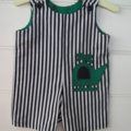short overalls - boys clothes, blue, green, helicopter, size 1