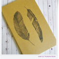 Hand Stamped Altered Moleskine Large Ruled Journal Notebook - Birds of a Feather