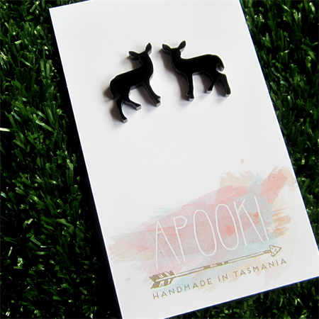 Buy 3 get 4th FREE Black Perspex Deer Earrings