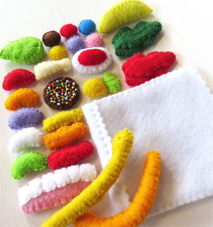 Felt play food - Mixed Lollies Sweets Candy - Pick and Mix ...