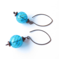 Blue Globe Glass dangle Earrings by Sasha and Max