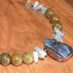 Rivers Run Wild...SALE Aussie Opal Laboradite Fire Agate Hematite Necklace