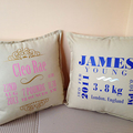 Beautiful personalised BABY BOY Birth announcement pillows for New Borns, specia