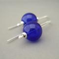 Reserved Listing for Danielle - Cobalt Blue Handblown Glass BubbleEarrings