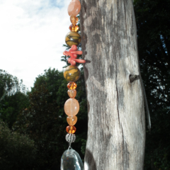 Crystal SALE..orange Gemstone Suncatcher Carnelian Howlite Coral