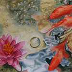"Koi Fish, Water Lily, PRINT, Watercolour Painting -  10""x8"" Pond painting"