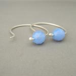 Periwinkle Blue Hoop Czech Glass and Sterling Silver Modern Simple Earrings