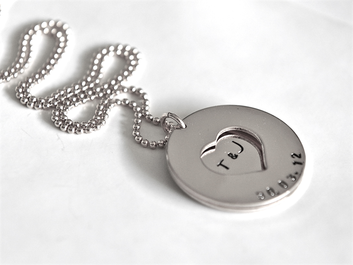silver kandsimpressions anniversary necklace product stamped date initial bridal wedding hand