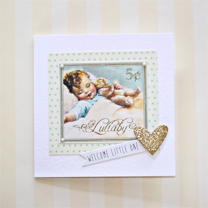New Baby Card - Vintage Boy or Girl, Gold Glitter Heart