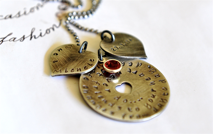 Friendship Necklace Girlfriend Gift Best Friends Jewelry Hearts Birthstone 50th
