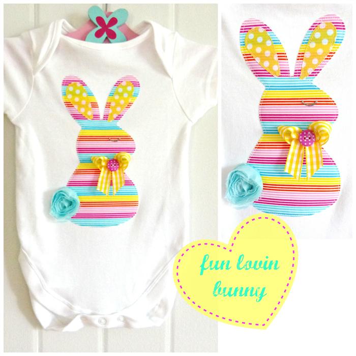 Easter Bunny Summer Rainbow Stripe Baby Singlet Onesie