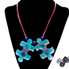"""""""Game, Set, Match"""" Puzzle piece necklace"""