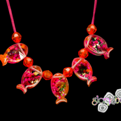 'Nice catch' hand cast fish necklace in pink and orange