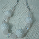 Passionate Rose SALE Bridal  Necklace Rose Quartz Crystal Resin Pave Beads