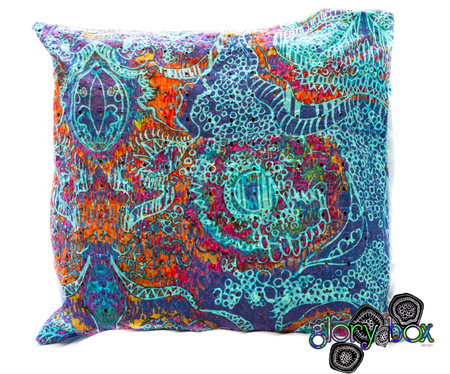 Original Glory Box printed broderais anglaise cushion in 'Magnetic Attraction'