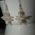 Cross My Heart...PEARL SALE earrings Biwa Stick Pearls Bride unique